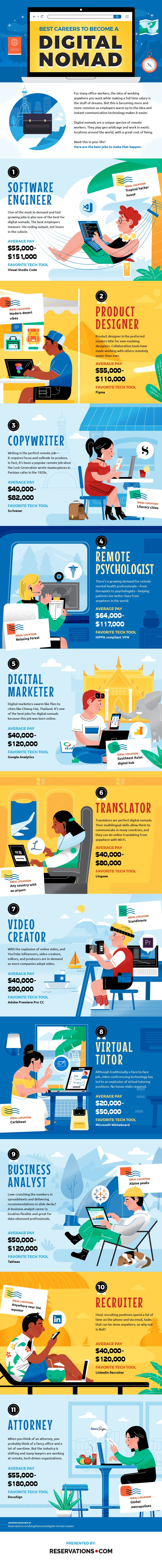 Digital Nomad Careers Infographic