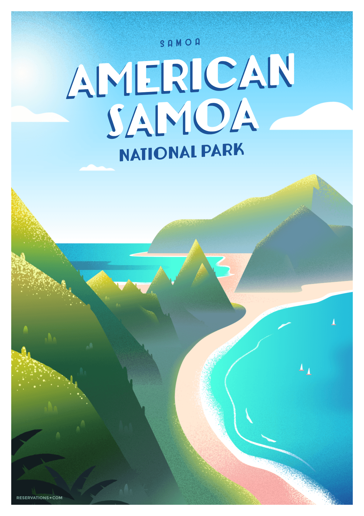 National Park of American Samoa vintage travel poster