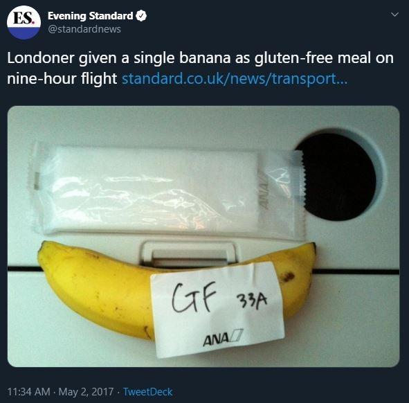 Gluten Free flight meal is banana
