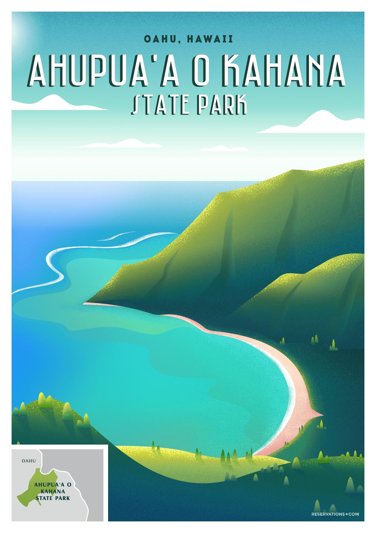 Ahupua'a O Kahana State Park Honolulu, Hawaii vintage poster