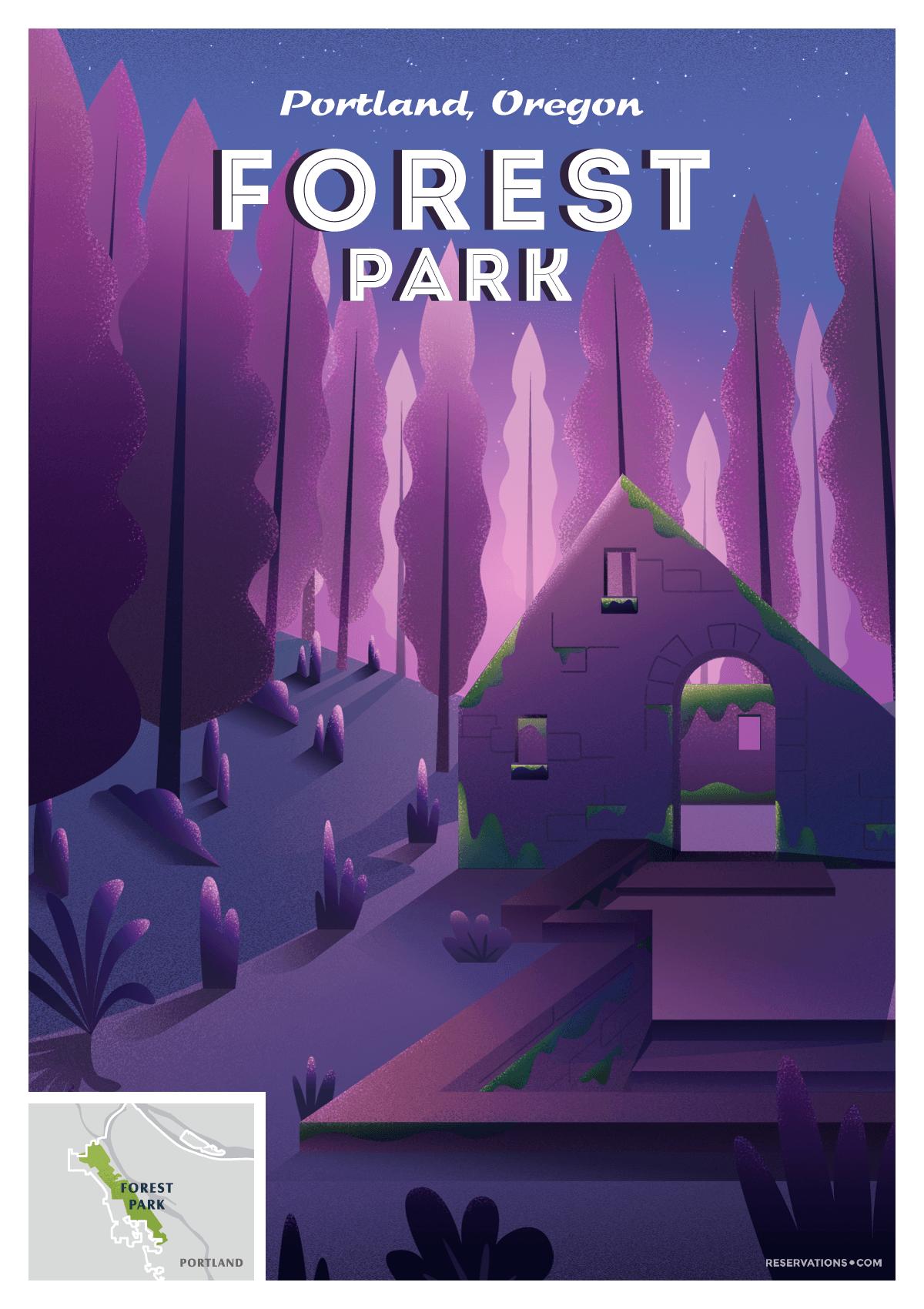 Forest Park Portland, Oregon vintage poster
