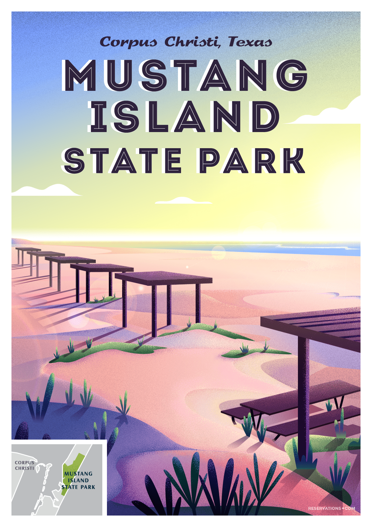 mustang island state park poster